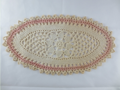 Oval Ivory and Pink Crochet Doily