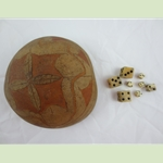 Dice With Sailor Carved Cocconut Shell